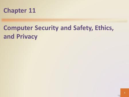 Chapter 11 Computer Security and Safety, Ethics, and Privacy 1.