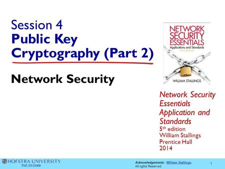 Acknowledgements: William Stallings.William Stallings All rights Reserved Session 4 Public Key Cryptography (Part 2) Network Security Essentials Application.