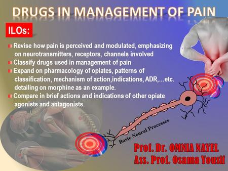 ILOs: Revise how pain is perceived and modulated, emphasizing on neurotransmitters, receptors, channels involved Classify drugs used in management of pain.