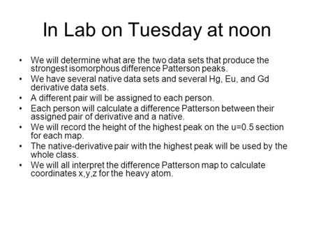 In Lab on Tuesday at noon