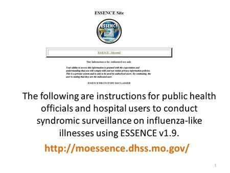 The following are instructions for public health officials and hospital users to conduct syndromic surveillance on influenza-like illnesses using ESSENCE.