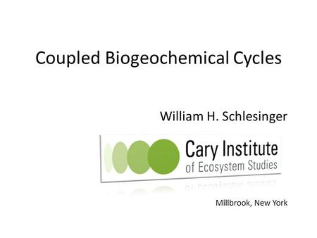 Coupled Biogeochemical Cycles William H. Schlesinger Millbrook, New York.