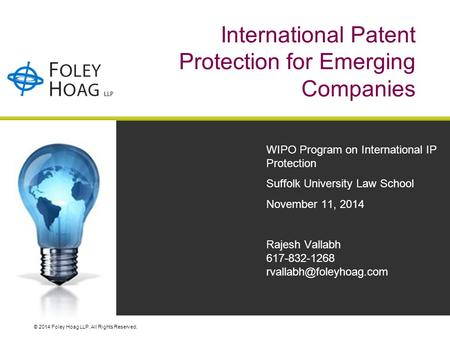 © 2014 Foley Hoag LLP. All Rights Reserved. International Patent Protection for Emerging Companies WIPO Program on International IP Protection Suffolk.