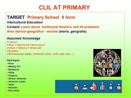 CLIL AT PRIMARY TARGET Primary School II form Intercultural Education Content: Learn about multiracial America and its problems Area storico-geografico.