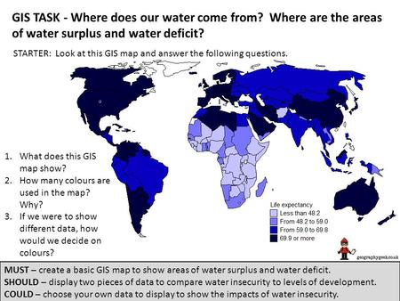 GIS TASK - Where does our water come from? Where are the areas of water surplus and water deficit? STARTER: Look at this GIS map and answer the following.