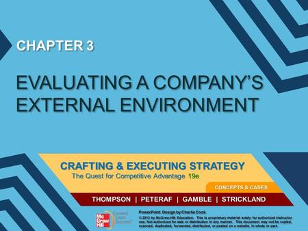 CHAPTER 3 EVALUATING A COMPANY'S EXTERNAL ENVIRONMENT.