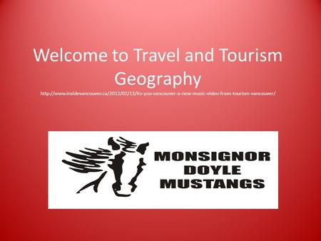 Welcome to Travel and Tourism Geography