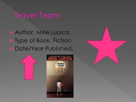 Travel Team Author: Mike Lupica Type of Book: Fiction