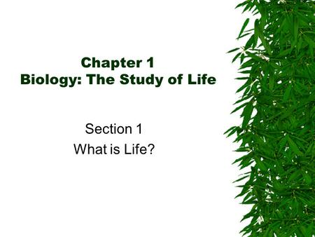 Chapter 1 Biology: The Study of Life Section 1 What is Life?