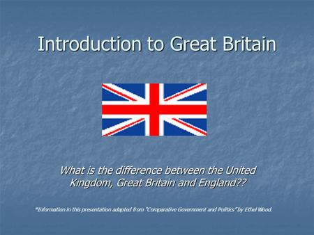 Introduction to Great Britain