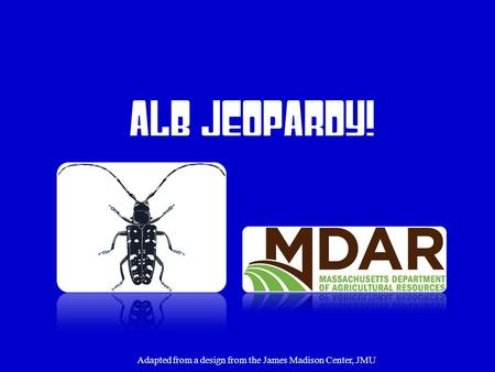 ALB Jeopardy! Adapted from a design from the James Madison Center, JMU.