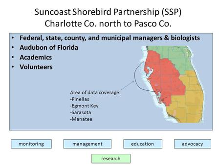 Suncoast Shorebird Partnership (SSP) Charlotte Co. north to Pasco Co. monitoringmanagementadvocacyeducation research Federal, state, county, and municipal.