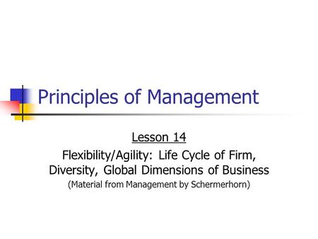 Principles of Management Lesson 14 Flexibility/Agility: Life Cycle of Firm, Diversity, Global Dimensions of Business (Material from Management by Schermerhorn)