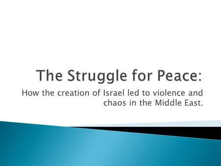 How the creation of Israel led to violence and chaos in the Middle East.