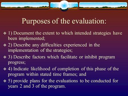 Purposes of the evaluation:  1) Document the extent to which intended strategies have been implemented;  2) Describe any difficulties experienced in.