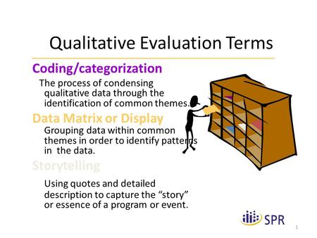 1 Qualitative Evaluation Terms Coding/categorization The process of condensing qualitative data through the identification of common themes. Data Matrix.