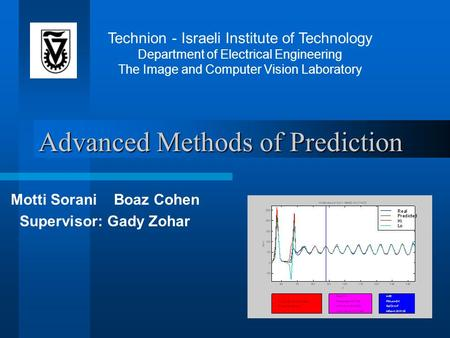 Advanced Methods of Prediction Motti Sorani Boaz Cohen Supervisor: Gady Zohar Technion - Israeli Institute of Technology Department of Electrical Engineering.