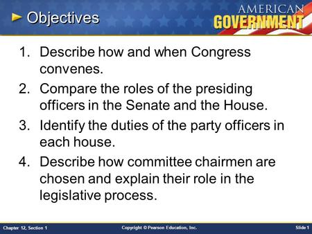 Objectives Describe how and when Congress convenes.