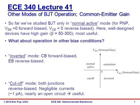 © 2012 Eric Pop, UIUCECE 340: Semiconductor Electronics ECE 340 Lecture 41 Other Modes of BJT Operation; Common-Emitter Gain So far we've studied BJT only.