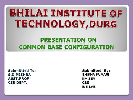 Submittted To: S.D MISHRA ASST.PROF CSE DEPT. Submitted By: SHIKHA KUMARI III rd SEM CSE B.E LAB.
