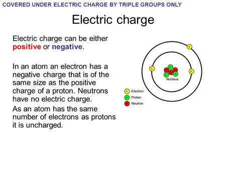 Electric charge Electric charge can be either positive or negative.