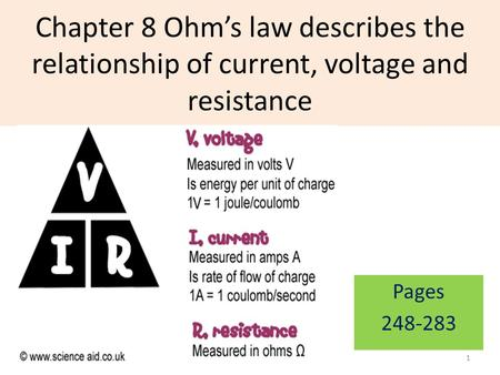 Chapter 8 Ohm's law describes the relationship of current, voltage and resistance Pages 248-283 1.