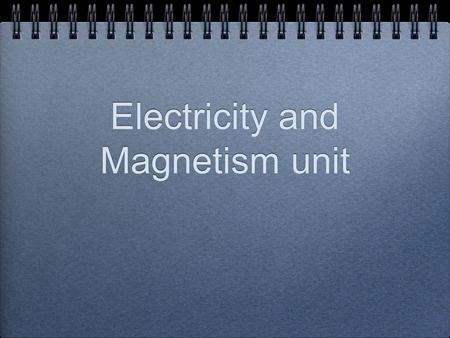 Electricity and Magnetism unit. Concept Map Electrostatics Electricity Magnetism Electromagnetism Electrostatics and Magnetism are both natural phenomena.