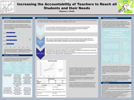POSTER TEMPLATE BY: www.PosterPresentations.com Increasing the Accountability of Teachers to Reach all Students and their Needs Raymon J. Smith References.