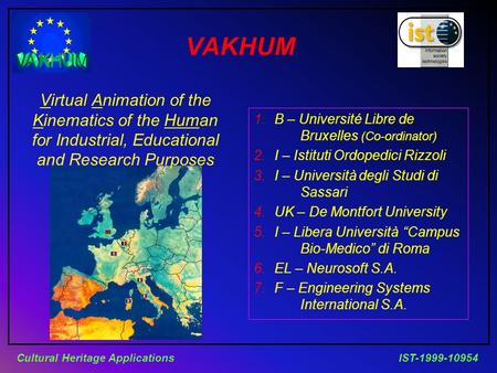 IST-1999-10954Cultural Heritage Applications VAKHUM Virtual Animation of the Kinematics of the Human for Industrial, Educational and Research Purposes.
