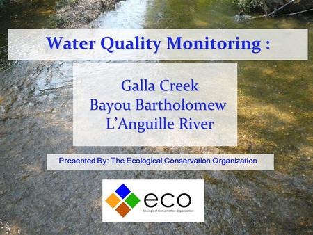 Water Quality Monitoring : Galla Creek Bayou Bartholomew L'Anguille River Presented By: The Ecological Conservation Organization.
