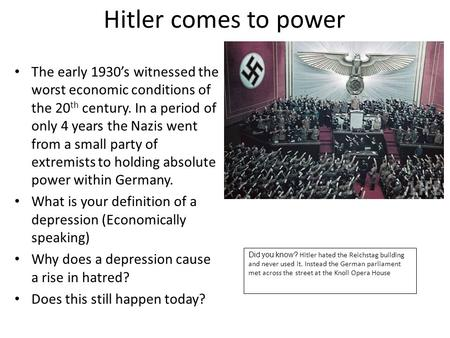 short paper on how hitler got into power Thus, in part because of evil men in places of authority, the great commission was put into action, the gospel spread, and the church grew god does not explicitly say why he allows evil men to rule at times, god has used evil rulers to bring judgment on his people and bring them back to righteousness.
