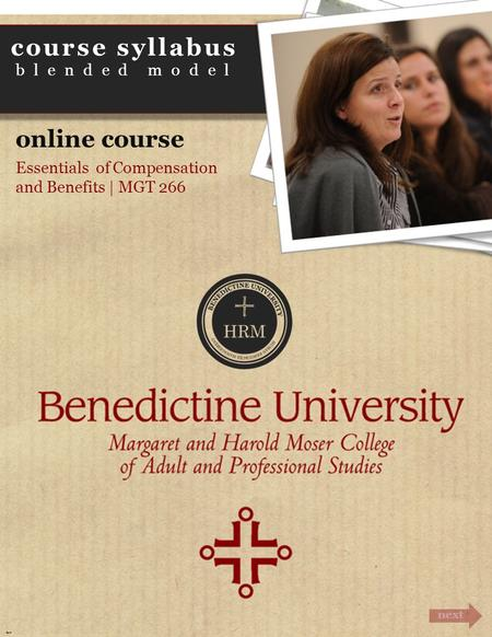 Course syllabus blended model next Cover <strong>online</strong> course Essentials of Compensation and Benefits | MGT 266.