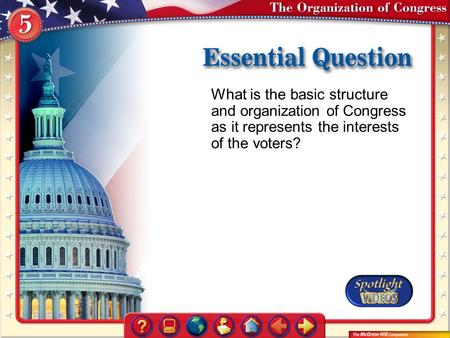 What is the basic structure and organization of Congress as it represents the interests of the voters? Essential Question.