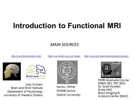 Introduction to Functional MRI