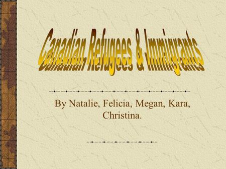 By Natalie, Felicia, Megan, Kara, Christina.. A refugee is a person from another country that has fled from their homelands because of a natural disaster,