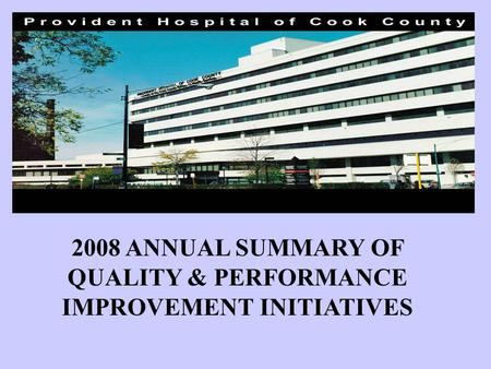 2008 ANNUAL SUMMARY OF QUALITY & PERFORMANCE IMPROVEMENT INITIATIVES.