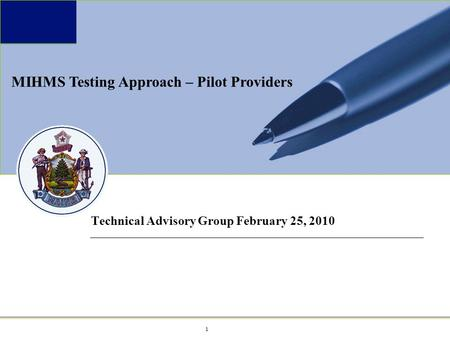 1 1 Maine MeCMS Project Technical Advisory Group February 25, 2010 MIHMS Testing Approach – Pilot Providers.