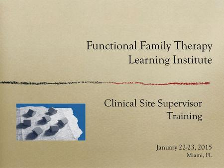 Functional Family Therapy Learning Institute January 22-23, 2015 Miami, FL Clinical Site Supervisor Training.