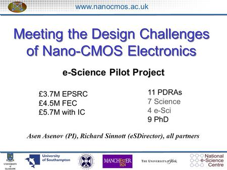 Www.nanocmos.ac.uk Meeting the Design Challenges of Nano-CMOS Electronics Asen Asenov (PI), Richard Sinnott (eSDirector), all partners e-Science Pilot.