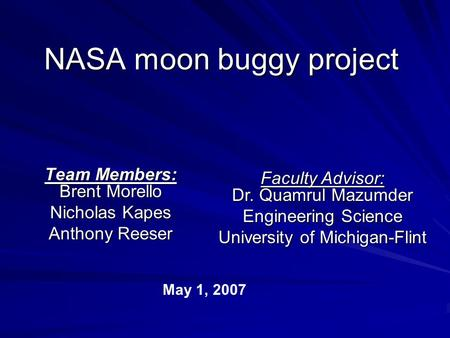 NASA moon buggy project