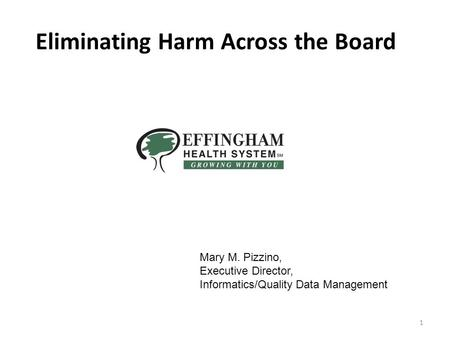 Slide 1 1 Eliminating Harm Across the Board Mary M. Pizzino, Executive Director, Informatics/Quality Data Management.