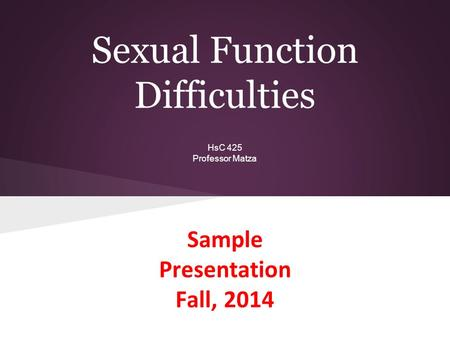 Sexual Function Difficulties