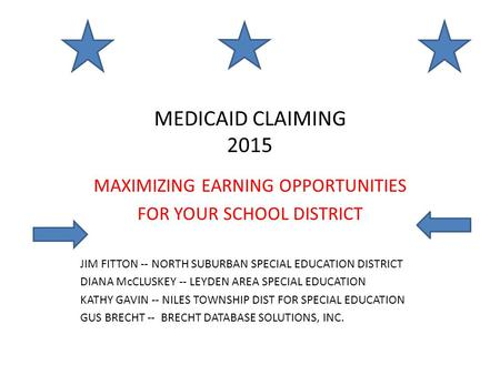 MEDICAID CLAIMING 2015 MAXIMIZING EARNING OPPORTUNITIES FOR YOUR SCHOOL DISTRICT JIM FITTON -- NORTH SUBURBAN SPECIAL EDUCATION DISTRICT DIANA McCLUSKEY.