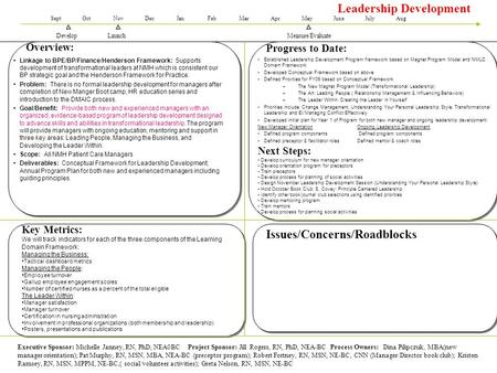 Leadership Development Launch SeptOctNovDecJanFebMarAprMayJuneJulyAug Overview: Progress to Date: Key Metrics: We will track indicators for each of the.