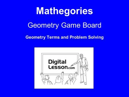 Mathegories Geometry Game Board Geometry Terms and Problem Solving.