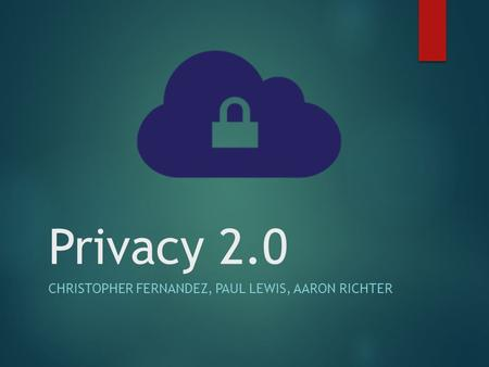 Privacy 2.0 CHRISTOPHER FERNANDEZ, PAUL LEWIS, AARON RICHTER.