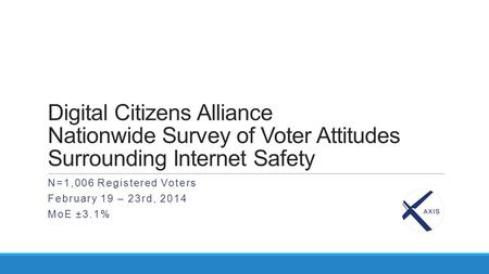 Digital Citizens Alliance Nationwide Survey of Voter Attitudes Surrounding Internet Safety N=1,006 Registered Voters February 19 – 23rd, 2014 MoE ±3.1%