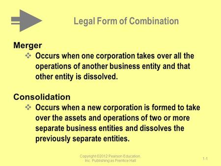 Legal Form of Combination Merger  Occurs when one corporation takes over all the operations of another business entity and that other entity is dissolved.