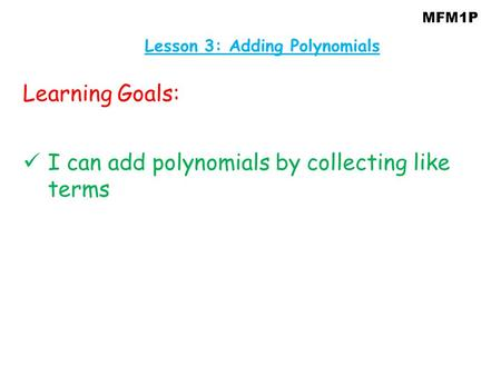 Lesson 3: Adding Polynomials