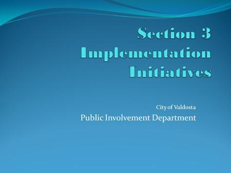 City of Valdosta Public Involvement Department. Section 3 Implementation Initiatives Template This presentation depicts a sample of the program implementation.